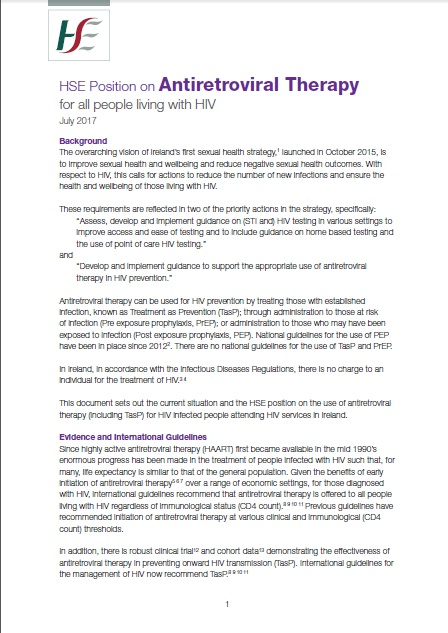 HSE Position on Antiretroviral Therapy